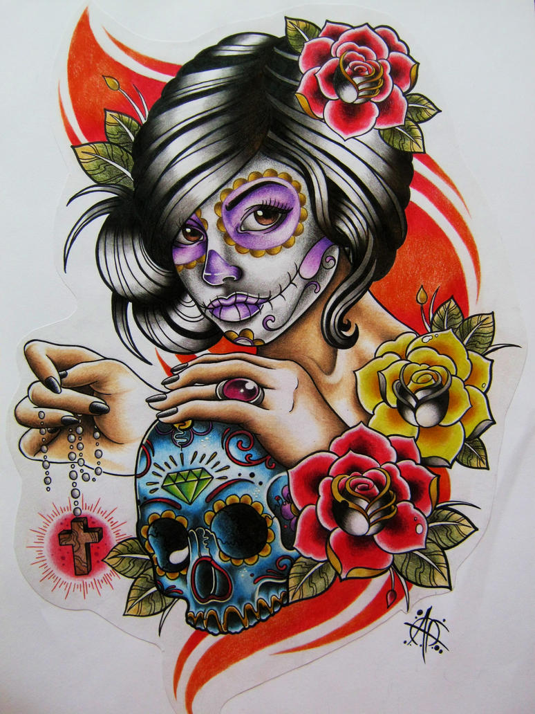 Day of the dead girl design by frosttattoo on deviantart for Day of the dead tattoo designs