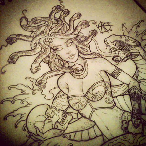 Medusa Design pin up by Frosttattoo