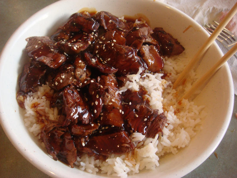 Teriyaki beef on rice bowl by Foxxy-Sam on DeviantArt