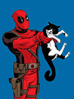 Deadpool and cat Commission by dennisculver