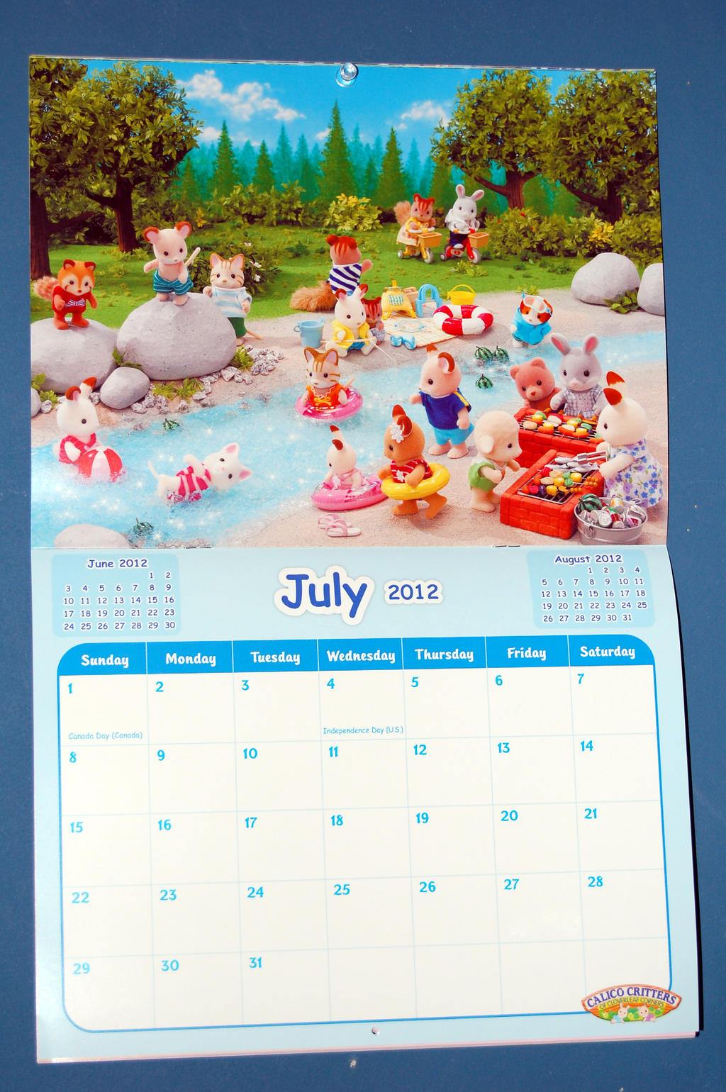 july 2012 calico critters calendar by rogue ranger on