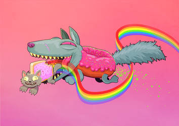 NYAN CAT VERSUS DOGNUT by ManuelKilger