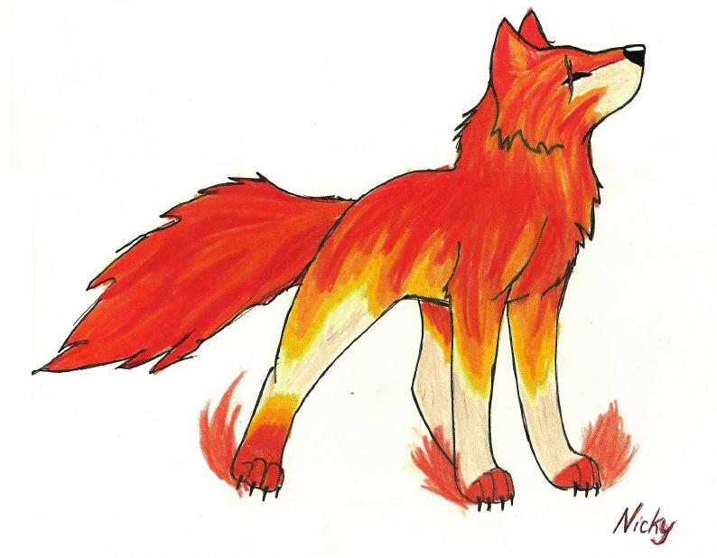 Fire wolf drawings