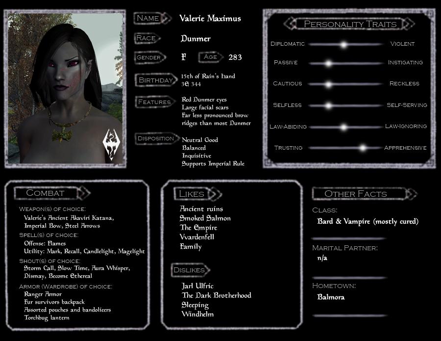 Valerie Skyrim Character Sheet by Demicus-Maximus on DeviantArt