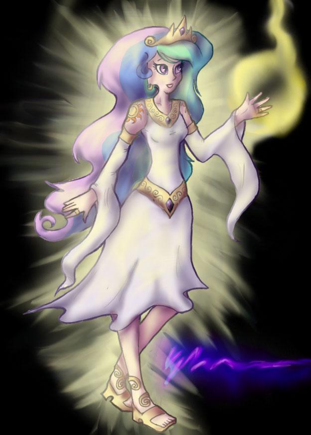 Human Princess Celestia by Cqal
