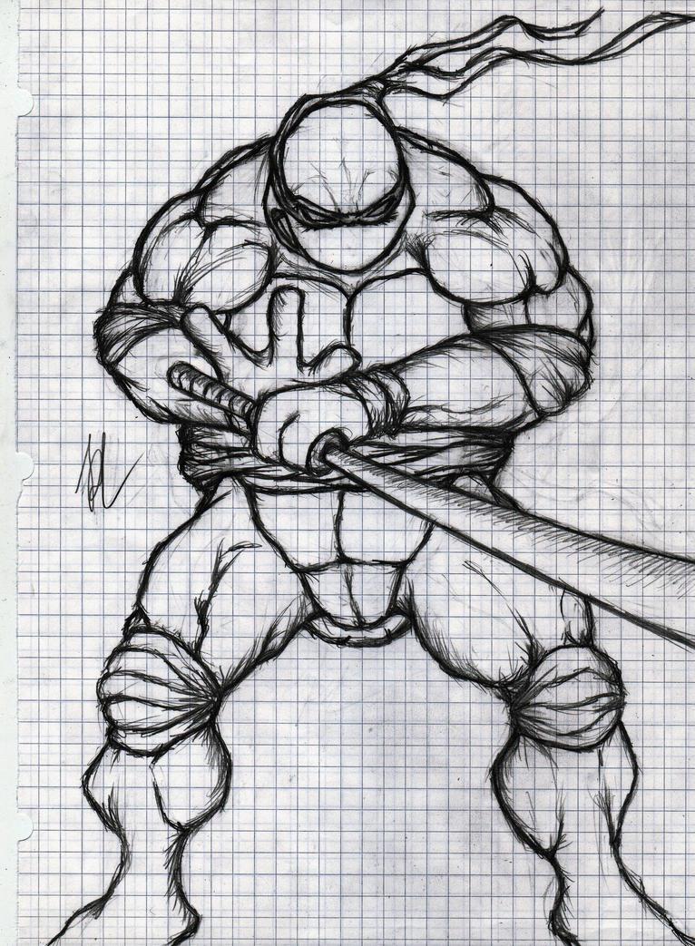 Line Art Ninja Turtles : Teenage mutant ninja turtles leonardo drawing by richlim