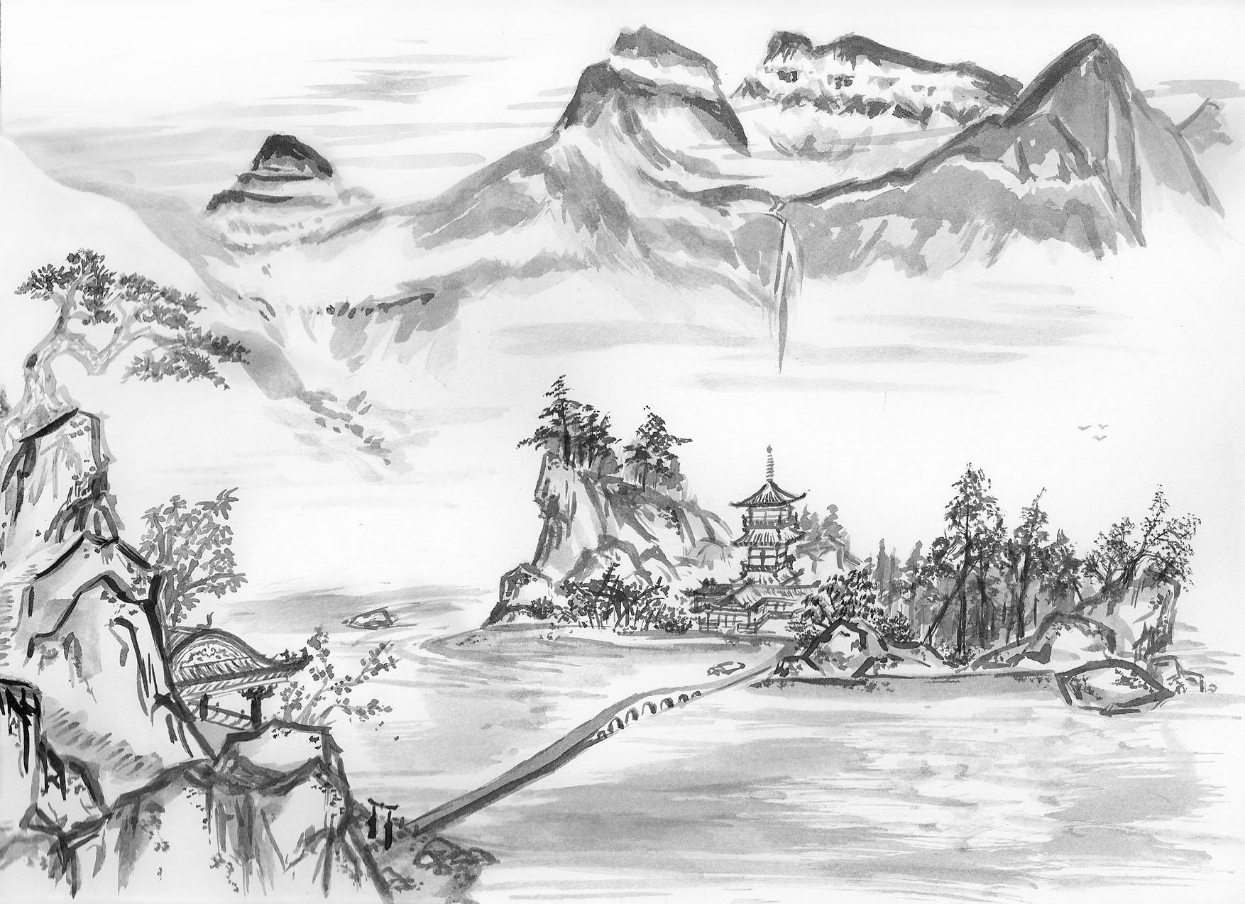 sumi e mountain landscape by babakosen on deviantart