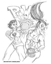 Comm By Cheggles99- Superwoman Boxing(Comic Style)