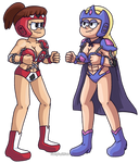 Commission: Galactic Wrestlers Lynn and Pacifica by Gadgetboy197