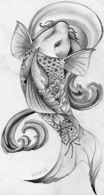 Peony Koi - flower tattoo