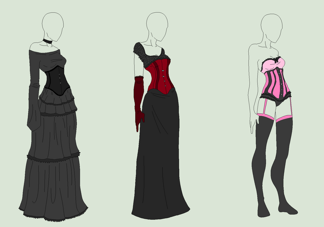 Outfit Adopts 3 Pack - Girls In Corsets - SOLD by ShadowInkAdopts