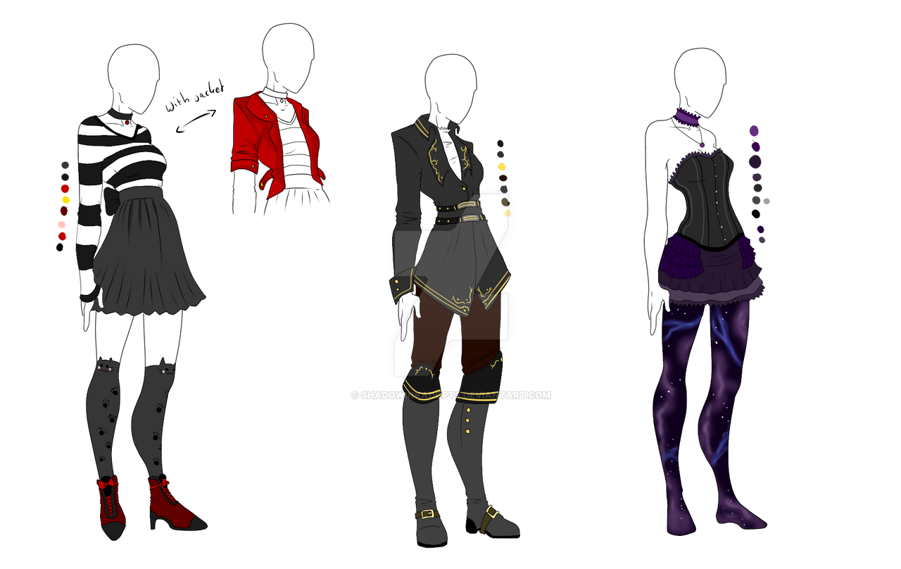 Outfit Adopts 3 Pack - Back In Black - SOLD by ShadowInkAdopts