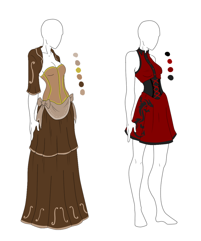 Dress Adopts - Chinese Steampunk - SOLD by ShadowInkAdopts