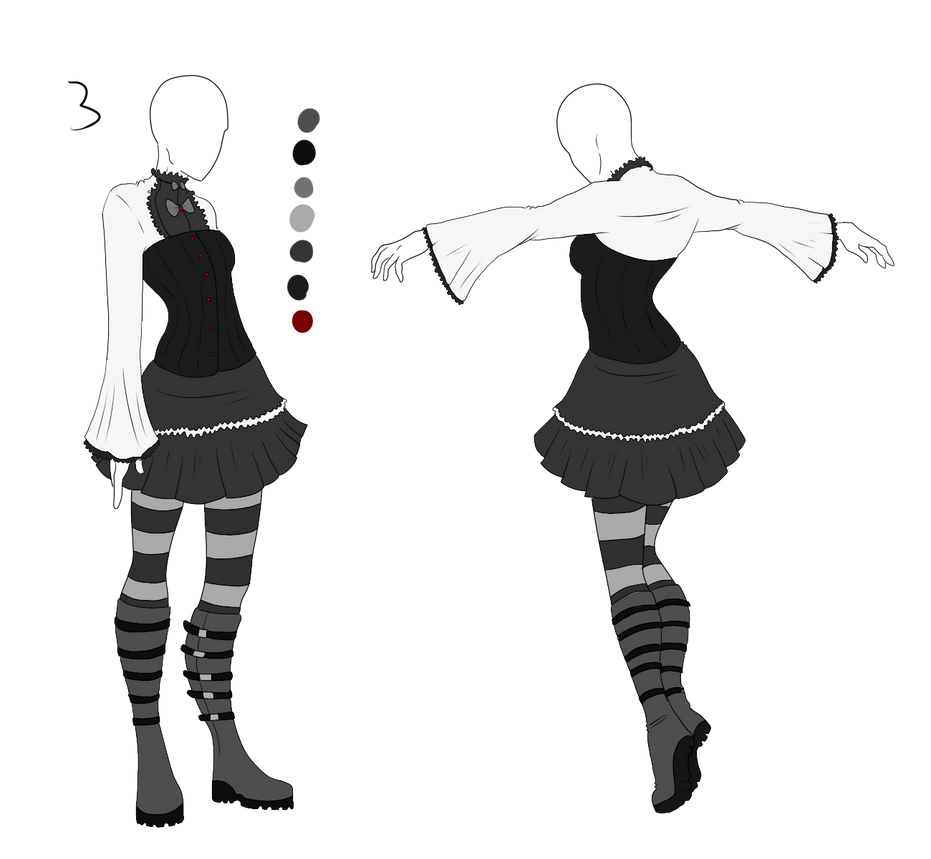 Black Lolita Outfit Adopt: SOLD by ShadowInkAdopts
