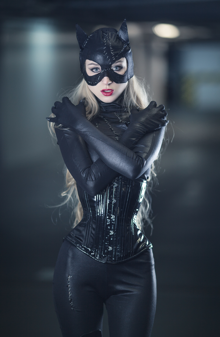 Blonde in sexy catwoman suit necessary