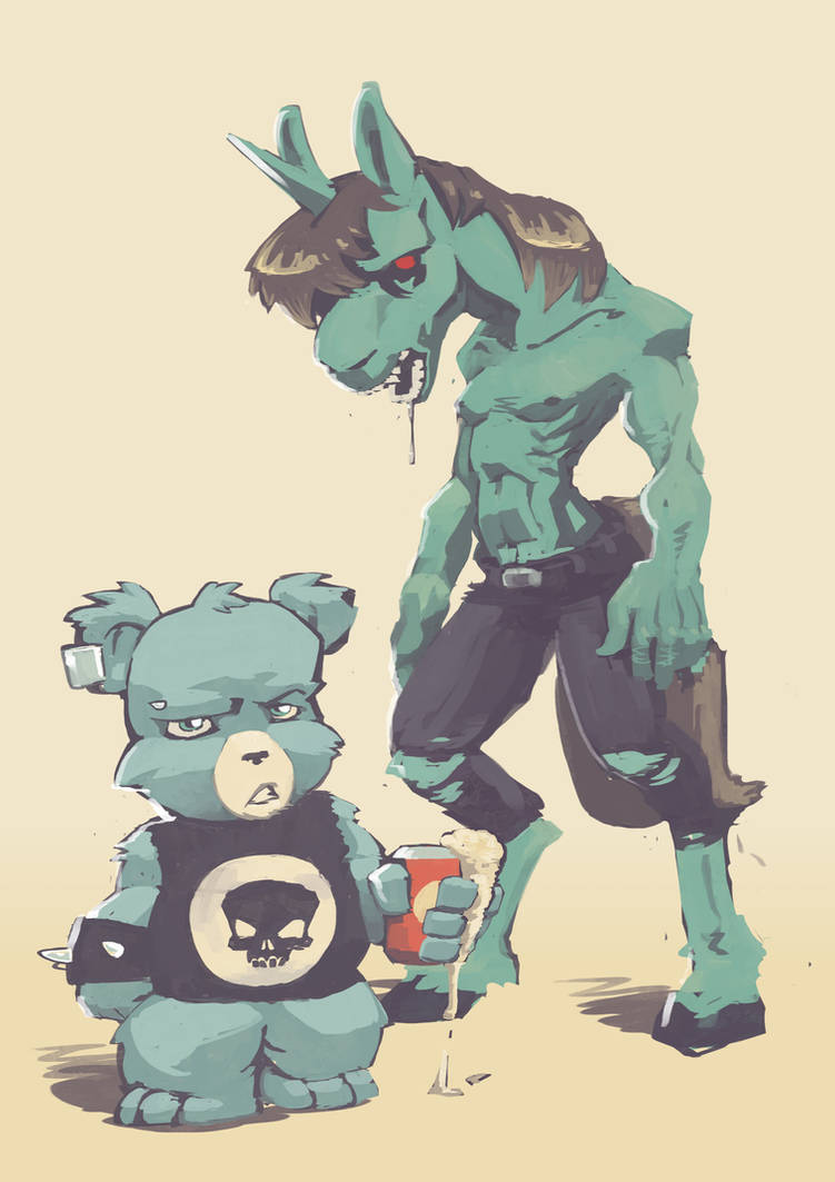 Metal Carebear and Zombie Unicorn by 40-Kun