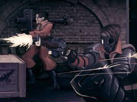 Close quarter gunfight