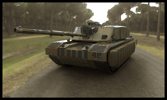Challenger ii tank 3d study - front view