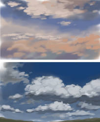 Clouds speedpaints by sabinebelofsky