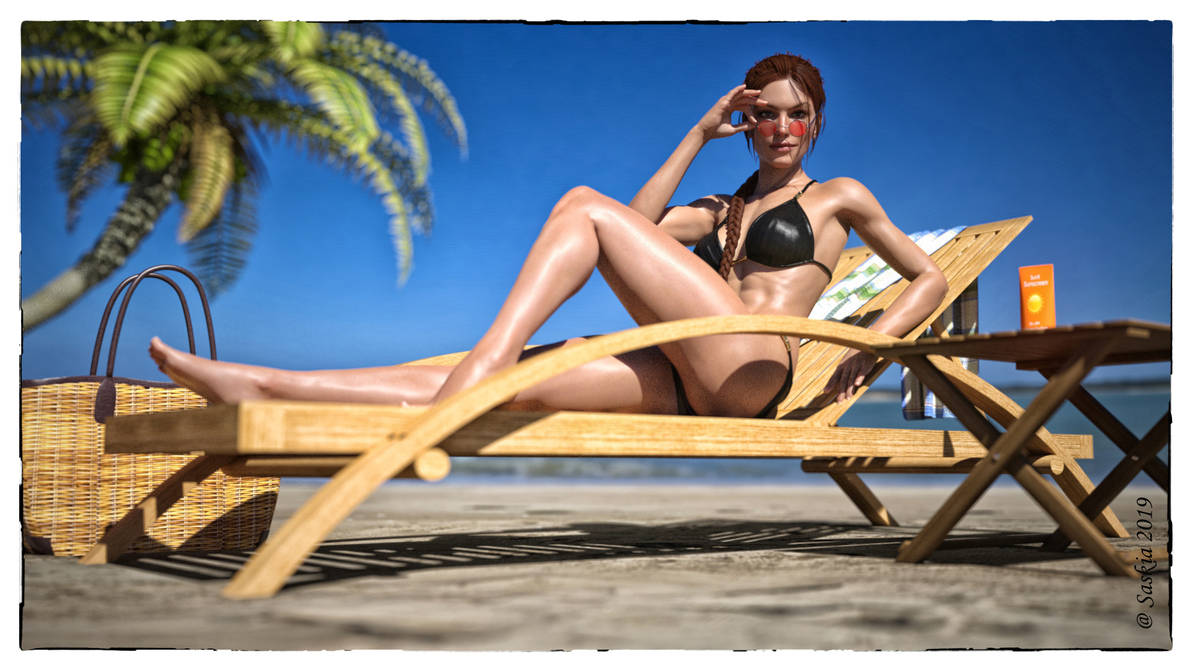 Lara on the beach by RenderSas