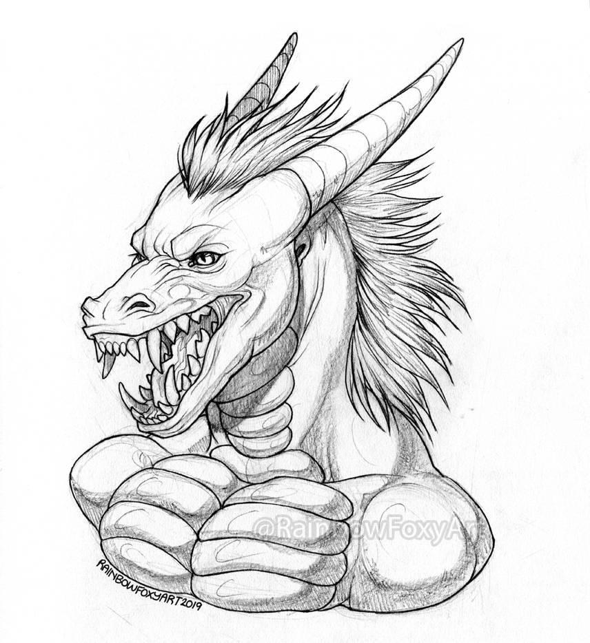 WEB Flinthorse Bust Sketch Comm by Rainbow-Foxy