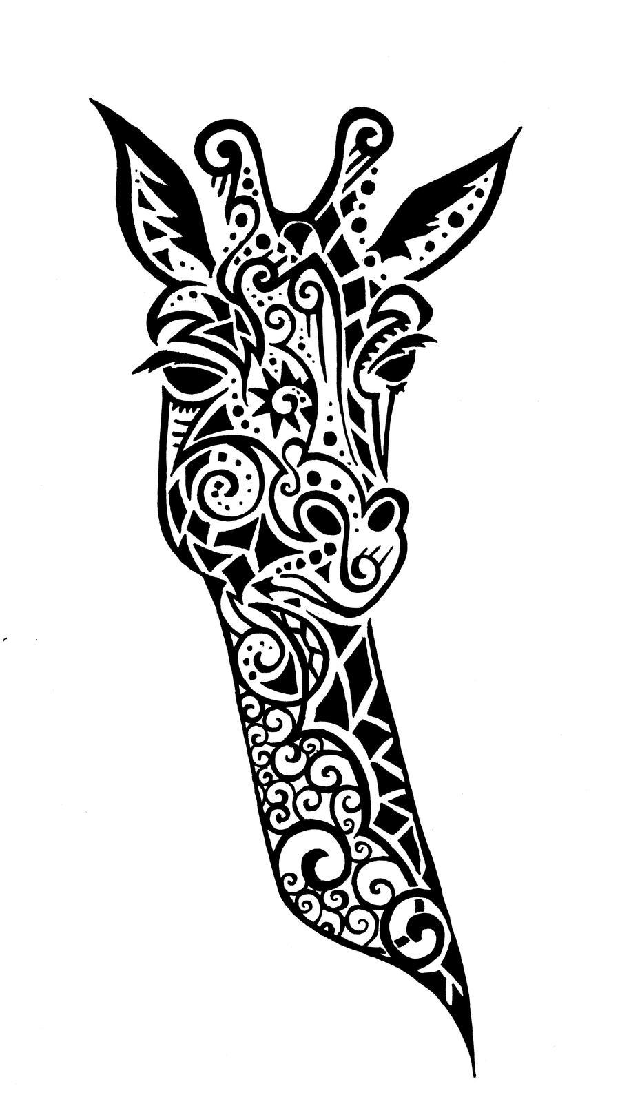 Tribal giraffe tattoo - photo#29