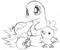 Pokemon fire starters by Daffupanda