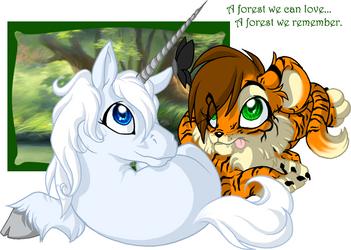 Unicorn and Tiger - Forest by Daffupanda