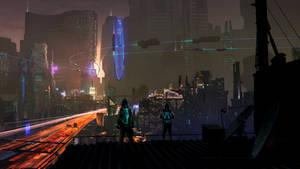 Cyberpunk Cityscape by DerMonkey