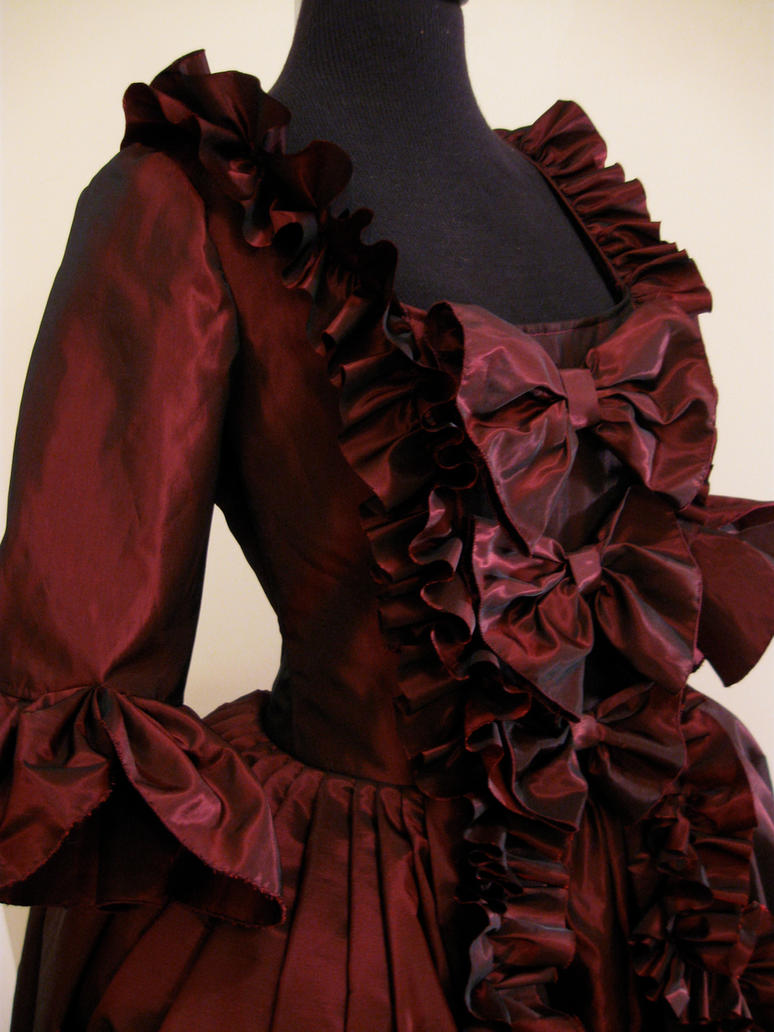 red baroque dress by hollymessinger