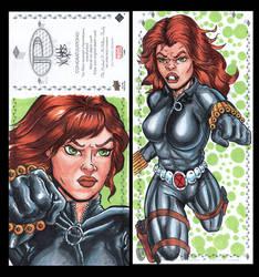 Blackwidow Marvel premiere sketch card by comicsINC
