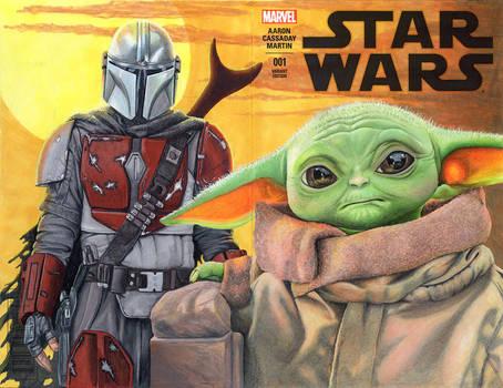 Star Wars Baby Yoda and Mandalorian Sketch cover