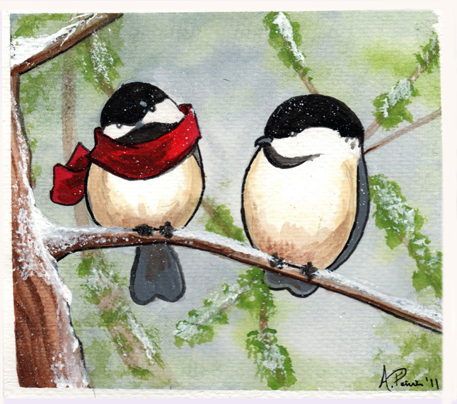 Chickadees - 2011 Greeting Card by sohalia