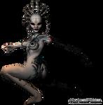 Cyborg Female png Stock 3