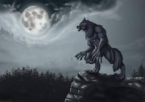 Werewolf on a cliff by hamstertoybox