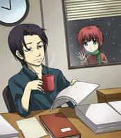 Senpai and his Coffee by Ausagi