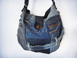 Denim Patchwork Sling Bag Ucycled Jeans by ajnataya