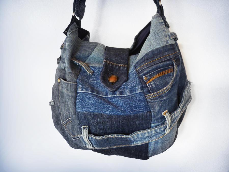 Denim Patchwork Sling Bag Ucycled Jeans by ajnataya on DeviantArt