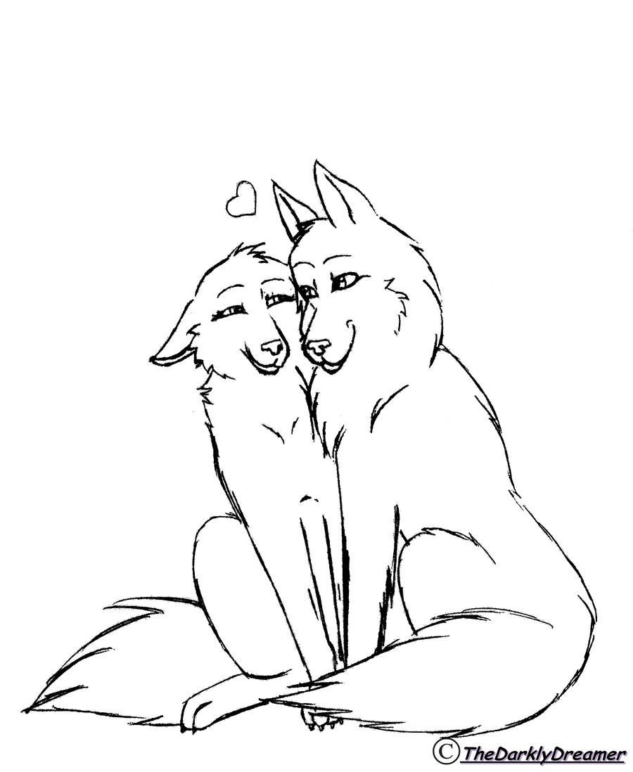 Line Art Couple : Wolf couple lineart