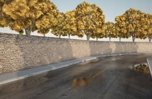 Wet road rendering 2 by Beelp