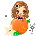 Pixel chibi, on an orange... by HeadyMcDodd