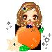 Pixel chibi, on an orange... by HeadyMcDodd