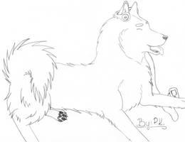 Alaskan Malamute listening to music (2. lineart) by Klau--Lion-Heart