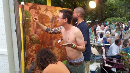 Artist painting in public by BloodySurfer