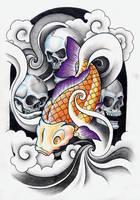 Skulls and Koi by leCCio