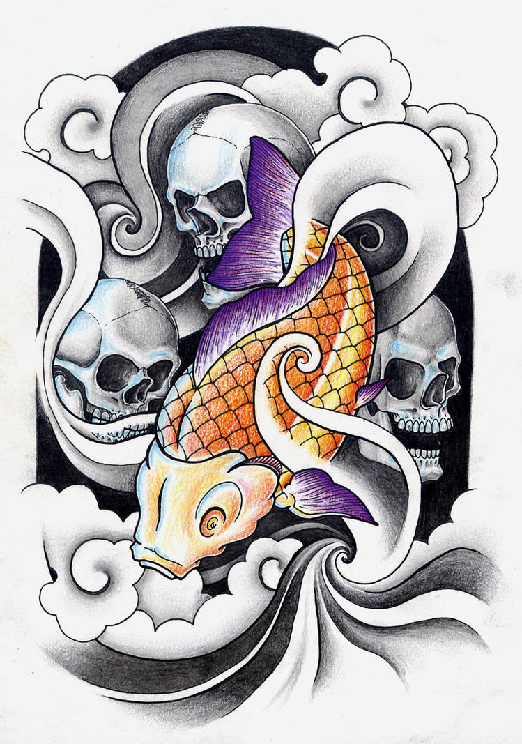 Skulls and Koi - shoulder tattoo