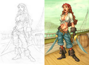 Pirate chick with lineart