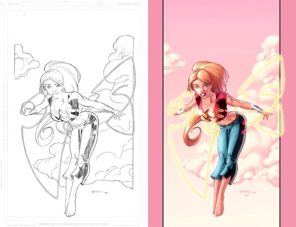 Wonder Girl with lineart by GarryHenderson
