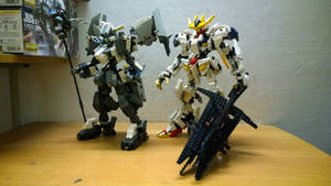 Gundam Gusion Rebake Full City and Barbatos Rex by demon14082000