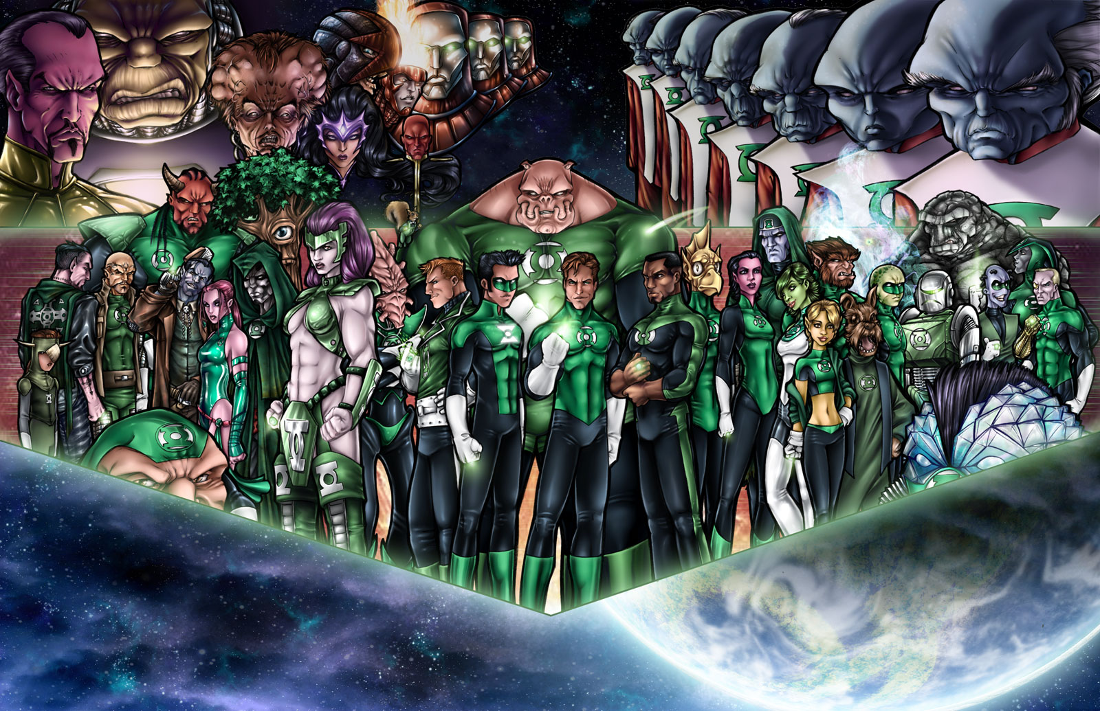 Les images du net - Page 3 Green_Lantern_Corps_by_AdamWithers